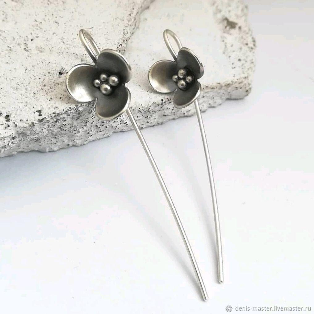 Silver earrings long, earrings without stones, light earrings, Earrings, Yaroslavl,  Фото №1