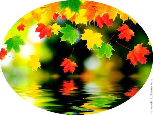 """Вышивка ручной работы. Ярмарка Мастеров - ручная работа. Купить Схема для вышивки крестом """"Осенние листья над водой"""".. Handmade."""