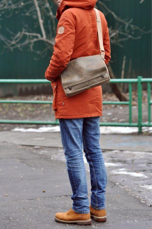 """Мужские сумки ручной работы. Ярмарка Мастеров - ручная работа. Купить Crossbody """"Messenger"""" из натуральной кожи (сумка через плечо). Handmade."""