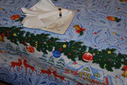 Текстиль, ковры ручной работы. Ярмарка Мастеров - ручная работа. Купить Скатерть Новогодняя-домики, олени. Handmade. Голубой