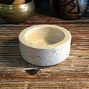 handmade. Livemaster - original item Candle holder clay 5.5cm color white granite. Handmade.