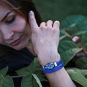 Украшения handmade. Livemaster - original item Gift to the Teacher for the teacher`s day bracelet made of eco-leather Blue. Handmade.