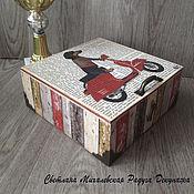 Для дома и интерьера ручной работы. Ярмарка Мастеров - ручная работа шкатулка короб для хранения чайные пакетики Такса на мопеде декупаж. Handmade.