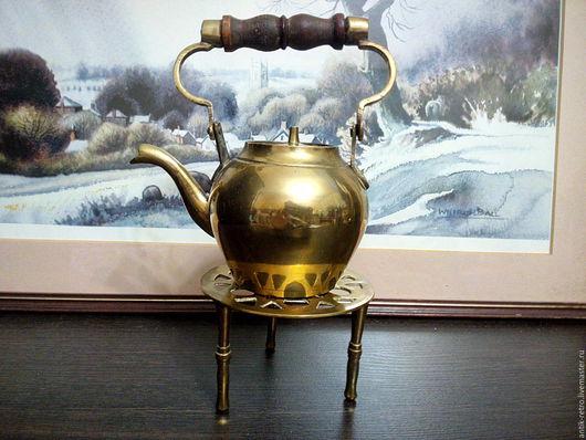 Винтажные предметы интерьера. Ярмарка Мастеров - ручная работа. Купить Чайничек на подставке старинный. Handmade. Чайник латунный, ретро стиль
