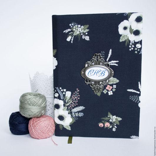 Блокноты ручной работы. Ярмарка Мастеров - ручная работа. Купить Блокнот синий с анемонами. Handmade. Тёмно-синий, белые цветы