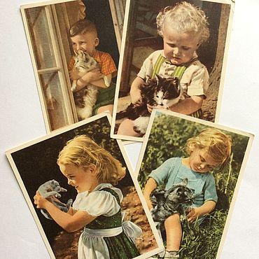 Винтаж ручной работы. Ярмарка Мастеров - ручная работа Германия открытки  дети и котята 50-е годы. Handmade.