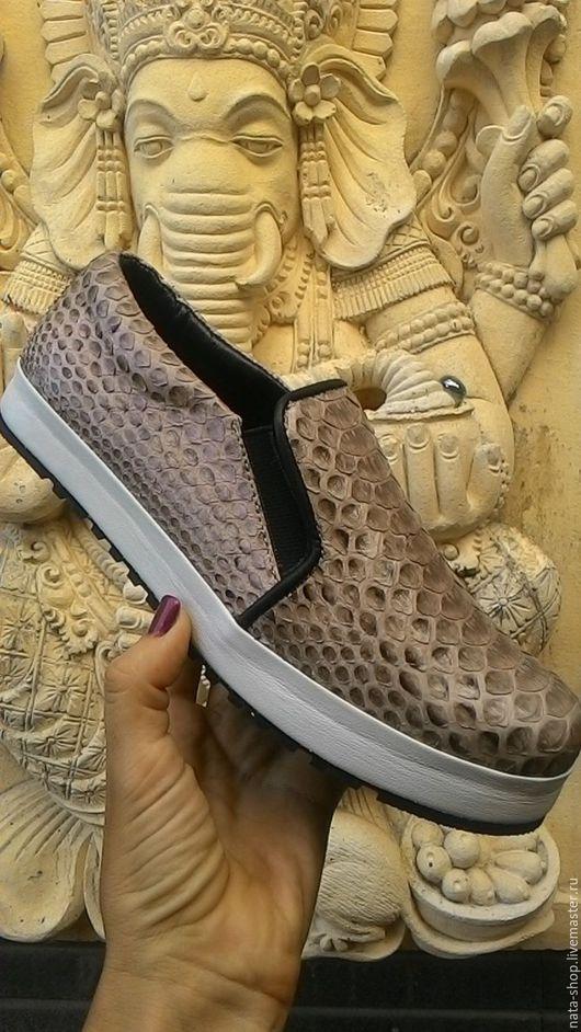 Обувь ручной работы. Ярмарка Мастеров - ручная работа. Купить Слипоны из питона. Handmade. Комбинированный, слипоны из кожи питона