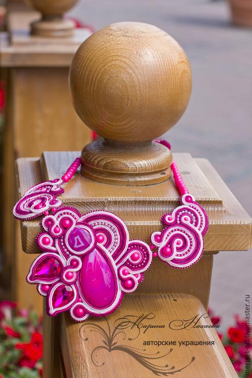 """Колье, бусы ручной работы. Ярмарка Мастеров - ручная работа. Купить Колье""""Пленительная фуксия"""". Handmade. Фуксия, агат розовый, сутаж"""