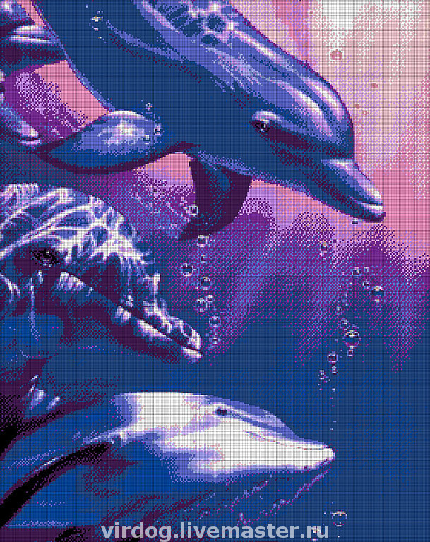 Схема вышивки дельфины бесплатно