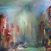 """Картины и панно ручной работы. Ярмарка Мастеров - ручная работа Картина """"Мистический город"""". Handmade."""