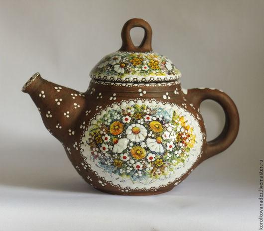 Чайники, кофейники ручной работы. Ярмарка Мастеров - ручная работа. Купить Большой заварочный чайник керамический (майолика). Handmade. майолика