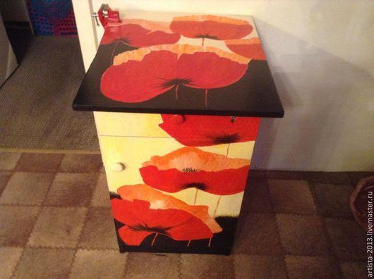 Мебель ручной работы. Ярмарка Мастеров - ручная работа. Купить тумба расписана вручную. Handmade. Ярко-красный, дсп