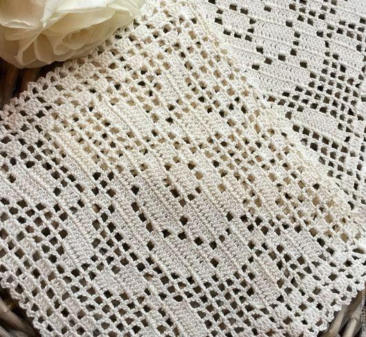 Текстиль, ковры ручной работы. Ярмарка Мастеров - ручная работа. Купить Две салфетки с розой. Handmade. Бежевый, салфетка крючком