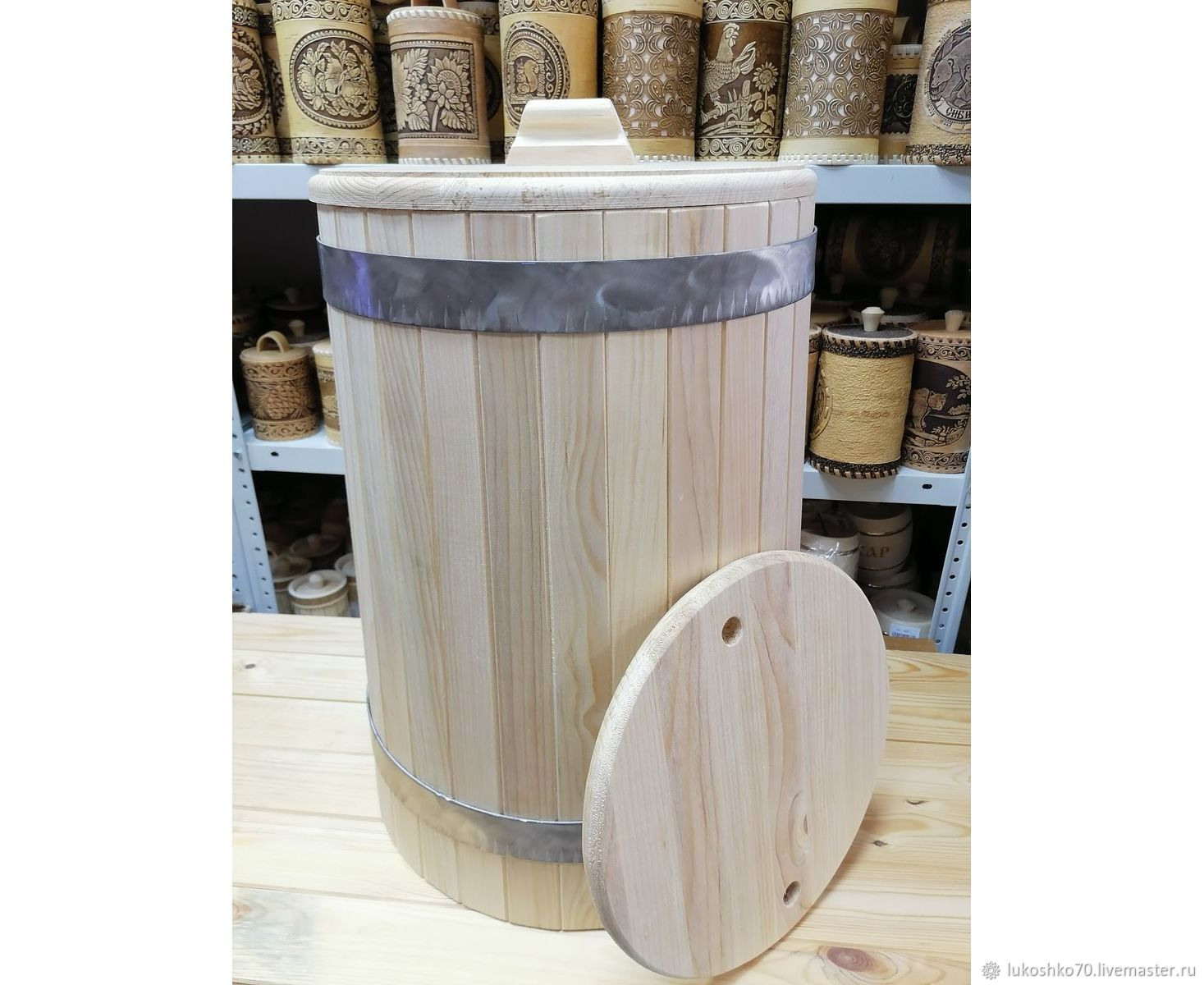 Cedar tub 40 l stainless steel hoops. For salting. For water, Cooperage, Tomsk,  Фото №1