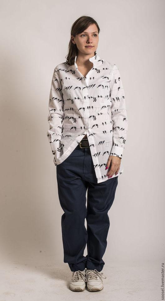 """Блузки ручной работы. Ярмарка Мастеров - ручная работа. Купить Блузка """"Птицы"""" long. Handmade. Белый, блузка, хлопок 100%"""