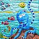 """Пледы и одеяла ручной работы. Ярмарка Мастеров - ручная работа. Купить Детское одеяло (покрывало) """"Под водой"""". Handmade. рыба"""