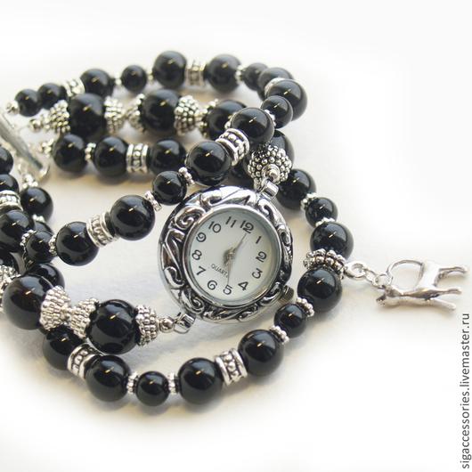 """Часы ручной работы. Ярмарка Мастеров - ручная работа. Купить """"Черная кошка"""" - часы-браслет. Handmade. Черный, кошатница"""