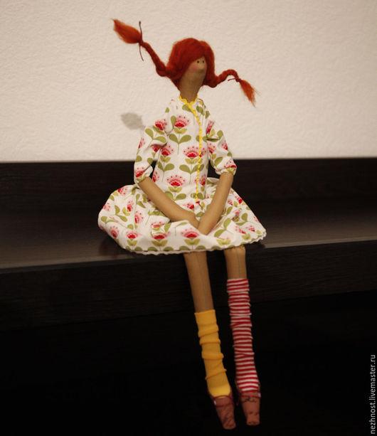Куклы Тильды ручной работы. Ярмарка Мастеров - ручная работа. Купить Куколка в стиле Тильда по мотивам  Пеппи Длинныйчулок. Handmade.