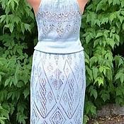 """Одежда ручной работы. Ярмарка Мастеров - ручная работа платье шёлковое """" голубая сталь"""". Handmade."""