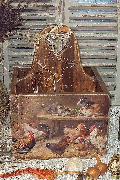 """Корзины, коробы ручной работы. Ярмарка Мастеров - ручная работа. Купить Короб-подставка """"Сельский дворик"""". Handmade. Кухня, Пасха"""