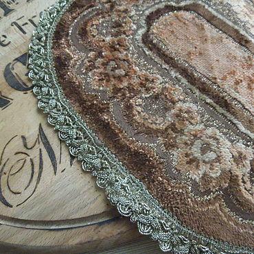 Винтаж ручной работы. Ярмарка Мастеров - ручная работа Овальная бархатная салфетка с цветами, винтаж. Handmade.
