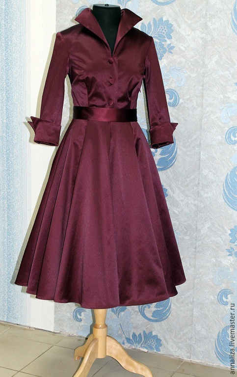 """Платья ручной работы. Ярмарка Мастеров - ручная работа. Купить Ретро платье в стиле 50-х """"Бордовый круг"""". Handmade."""