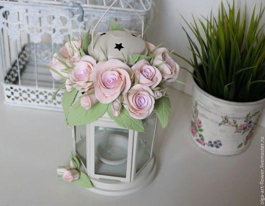 Интерьерные композиции ручной работы. Ярмарка Мастеров - ручная работа. Купить Подсвечник с розами на свадьбу Цветы из полимерной глины  ручной работ. Handmade.