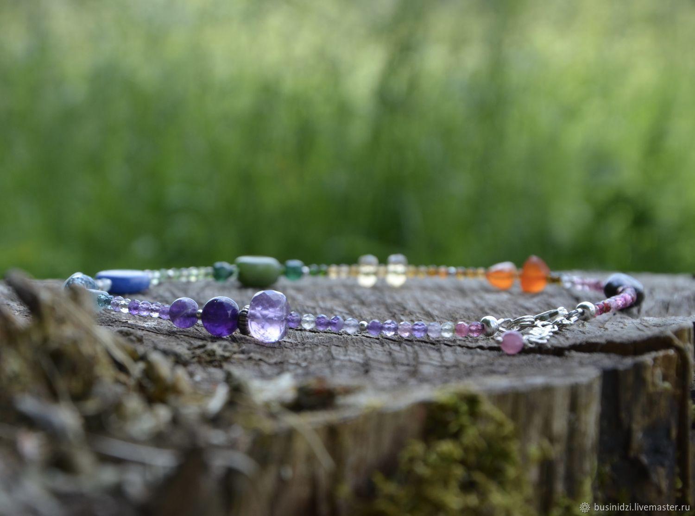 Gemstone chakra necklace, RAINBOW choker, silver, Necklace, Pereslavl-Zalesskij,  Фото №1