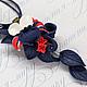 Кулон№1 с цветком орхидеи синего, красного и белого цвета. Цена 950р