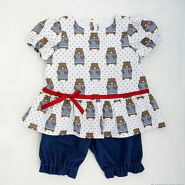 Работы для детей, ручной работы. Ярмарка Мастеров - ручная работа Комплект из 3 частей морской стиль летний детский джинсовый. Handmade.