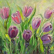 Картины и панно handmade. Livemaster - original item Oil painting Tulips Painting spring purple Flowers. Handmade.
