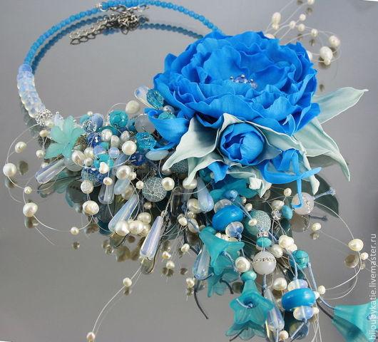 Объемное колье с крупным цветком из фоамирана небесно голубого цвета Длина 40 см + вниз 16 см