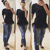 Одежда ручной работы. Ярмарка Мастеров - ручная работа Кофта с перьями страуса. Handmade.