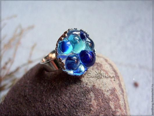 """Кольца ручной работы. Ярмарка Мастеров - ручная работа. Купить Кольцо """"Color Drops"""" (синее). Handmade. Синий, морская, кольцо"""