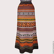 Одежда ручной работы. Ярмарка Мастеров - ручная работа Юбка-перуанка светло-коричневая в пол. Handmade.