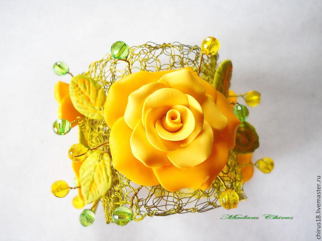 """Браслеты ручной работы. Ярмарка Мастеров - ручная работа. Купить Браслет  """" Солнечное настроение"""". Handmade. Роза, цветы в украшении"""