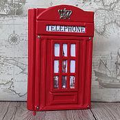 """Блокноты ручной работы. Ярмарка Мастеров - ручная работа Блокнот кожаный """"Телефонная будка"""". Handmade."""