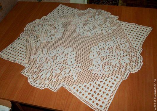 """Текстиль, ковры ручной работы. Ярмарка Мастеров - ручная работа. Купить салфетка """"Ягода калина."""" 68х73см. Handmade. Белый"""
