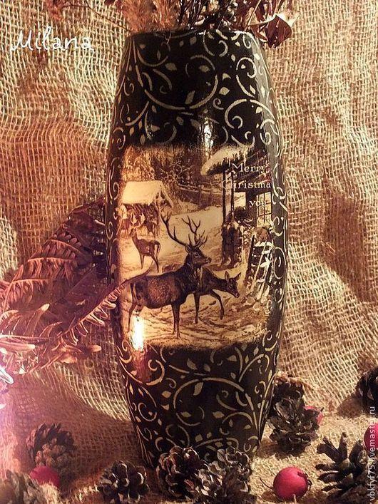 ваза, ваза декупаж, ваза из стекла, стеклянная ваза, ваза в подарок, вазы декупаж, зимняя ваза, красивая ваза, коричневая ваза, ваза на новый год