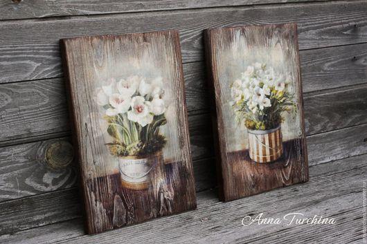 """Картины цветов ручной работы. Ярмарка Мастеров - ручная работа. Купить """"Белые цветы"""" пара интерьерных панно. Handmade. Коричневый"""