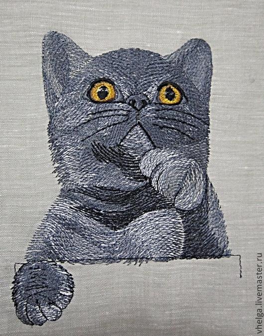 """Вышивка ручной работы. Ярмарка Мастеров - ручная работа. Купить Дизайн машинной вышивки """"Карманный кот Британец"""". Handmade."""