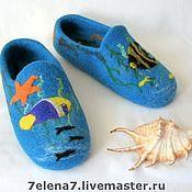 """Обувь ручной работы. Ярмарка Мастеров - ручная работа Тапочки """"На дне морском"""". Handmade."""
