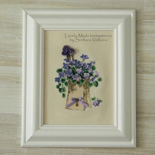 Картины цветов ручной работы. Ярмарка Мастеров - ручная работа. Купить Весенние цветы. Вышитый рисунок. Готовая работа. Миниатюрная вышивка. Handmade.