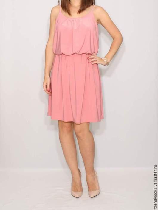 Платья ручной работы. Ярмарка Мастеров - ручная работа. Купить Розовое платье летнее, короткий сарафан на бретельках. Handmade. Розовый