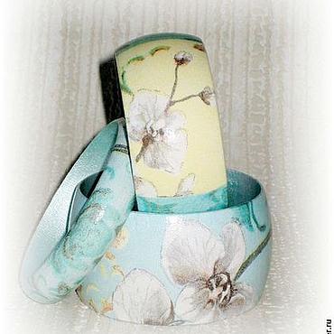 Украшения ручной работы. Ярмарка Мастеров - ручная работа Комплект браслетов из дерева Роскошная бирюзовая орхидея желтый ретро. Handmade.