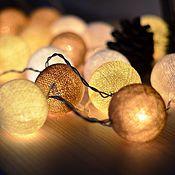 Для дома и интерьера ручной работы. Ярмарка Мастеров - ручная работа Новогодние фонарики-гирлянды: Золотистые. Handmade.