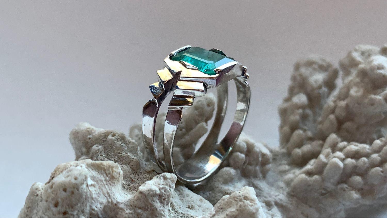 Мужское кольцо с Изумрудом 2,96ct, серебряное кольцо селтик celtic, Кольца, Москва,  Фото №1