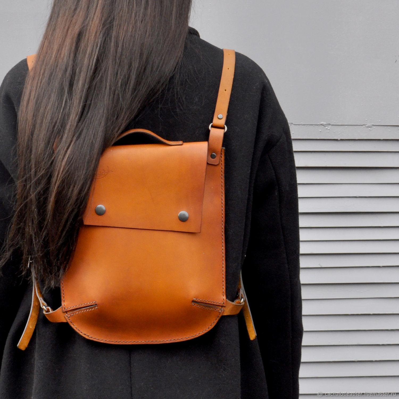 Рюкзаки ручной работы. Ярмарка Мастеров - ручная работа. Купить Рюкзак. Handmade. Оранжевый, кожаный рюкзак, городской рюкзак