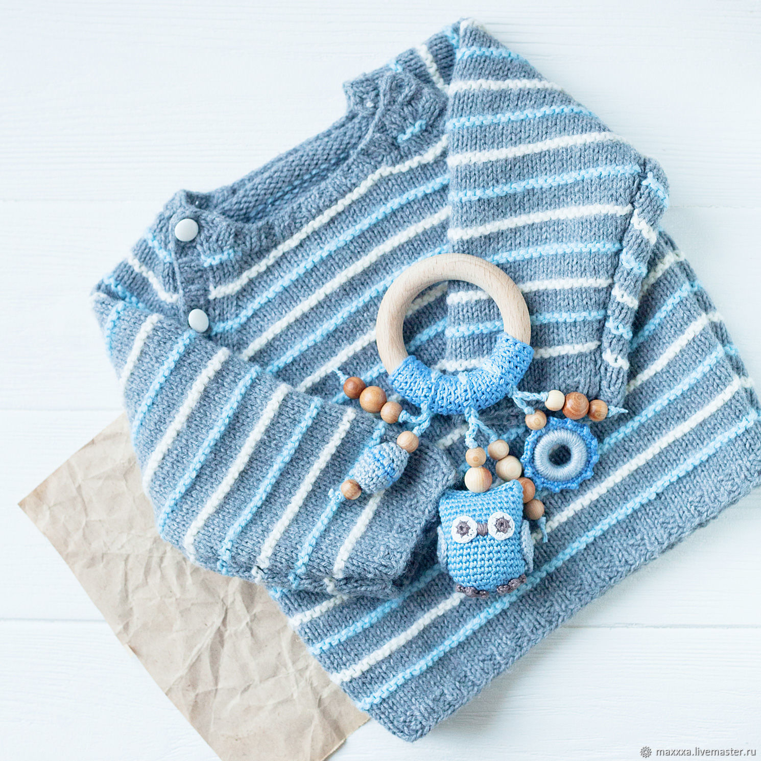 Teething Necklaces handmade. Livemaster - handmade. Buy Teether ring with owl blue with grey.Toy