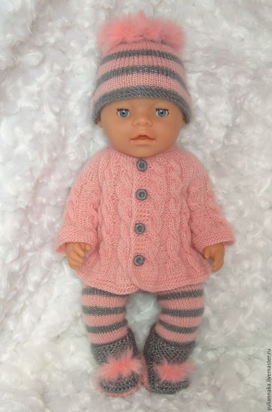 Одежда для кукол ручной работы. Ярмарка Мастеров - ручная работа. Купить Роза/сера комплект  для Беби Бон. Handmade. Бледно-розовый
